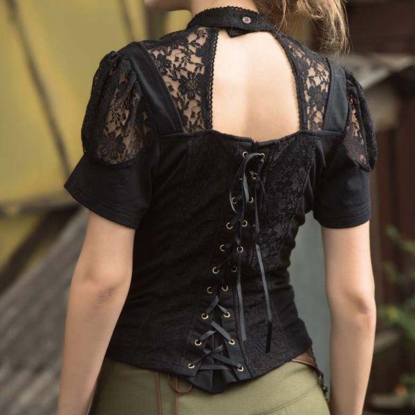 Kurzarm Bluse mit Kragen Halsband und Puffärmeln