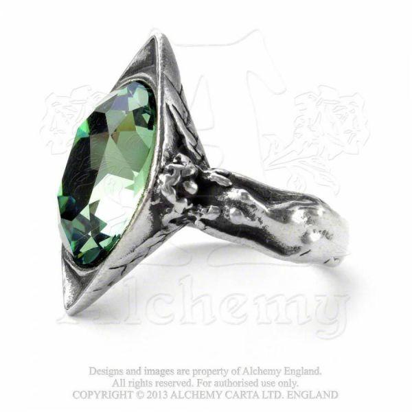 Ring mit grünem Kristall - Absinthe Fairy Spirit Crystal