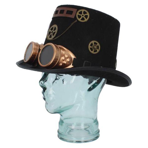 Steampunk Zylinder mit Goggles und Zahnrädern