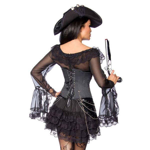 Volant Rüschen Minikleid mit Schleppenärmeln schwarz