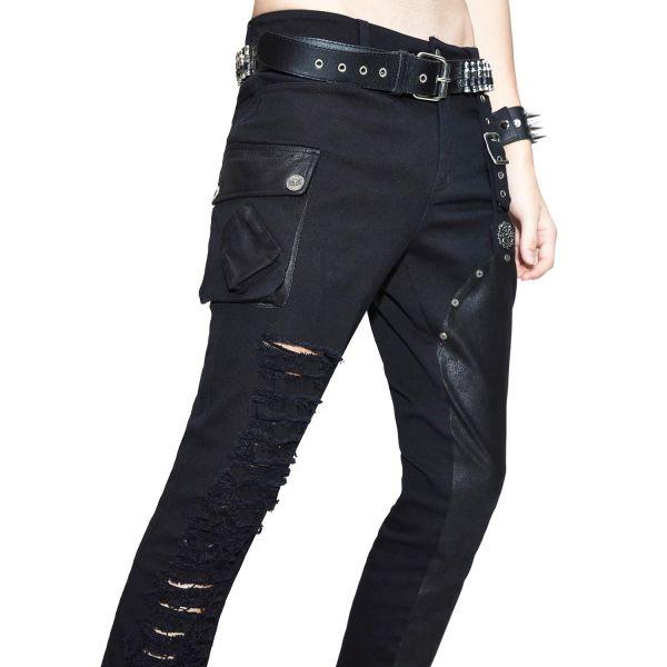 Industrial Punk Röhrenhose mit Schlitzen und großer Tasche