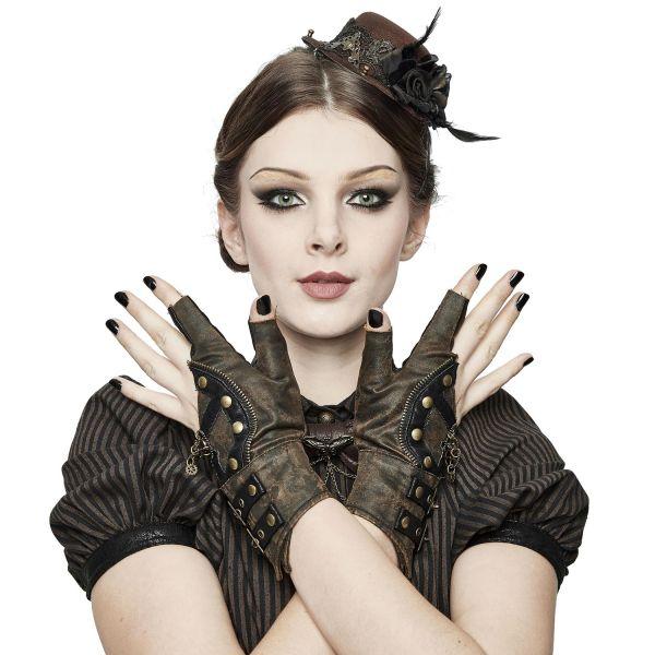 Steampunk Handschuhe im Destroyed Leder-Look