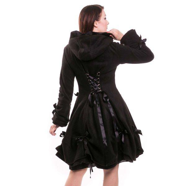 Gothic Lolita Wintermantel mit Kapuze und Schleifchen