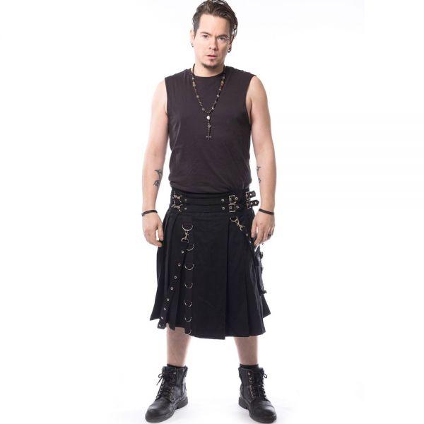 Gothic Style Kilt mit Bondages, Riemen und D-Ringen