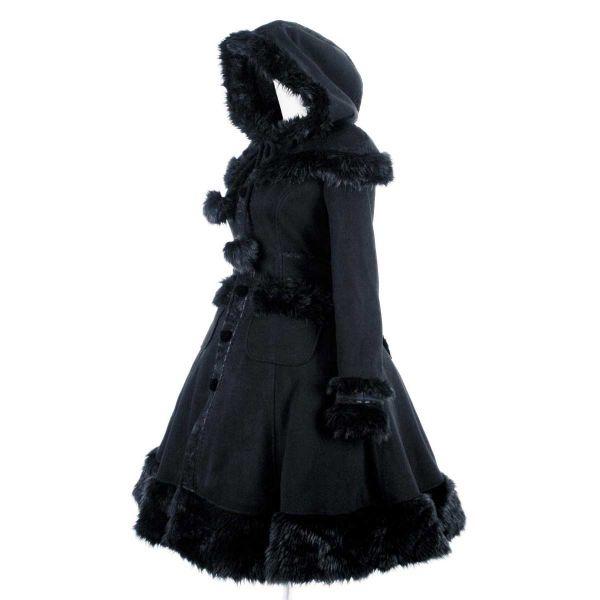 Gothic Lolita Mantel mit Kapuze und Kunstfell