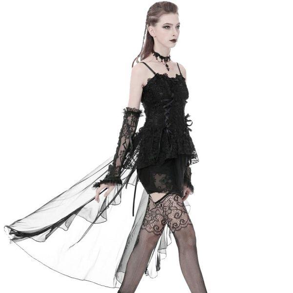 Corsagenkleid mit transparentem Rock und Schleppe