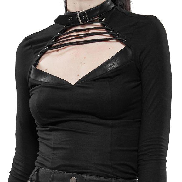 Longsleeve mit sexy Dekollete und Halsband Kragen