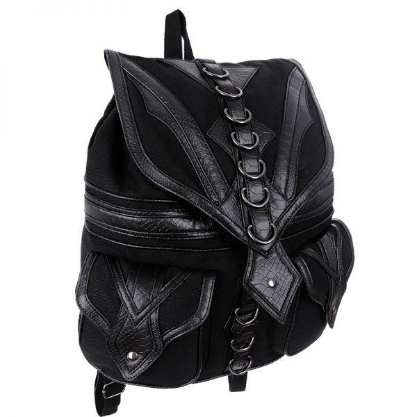 Schwarzer Rucksack im Gothic Drachenkopf Look