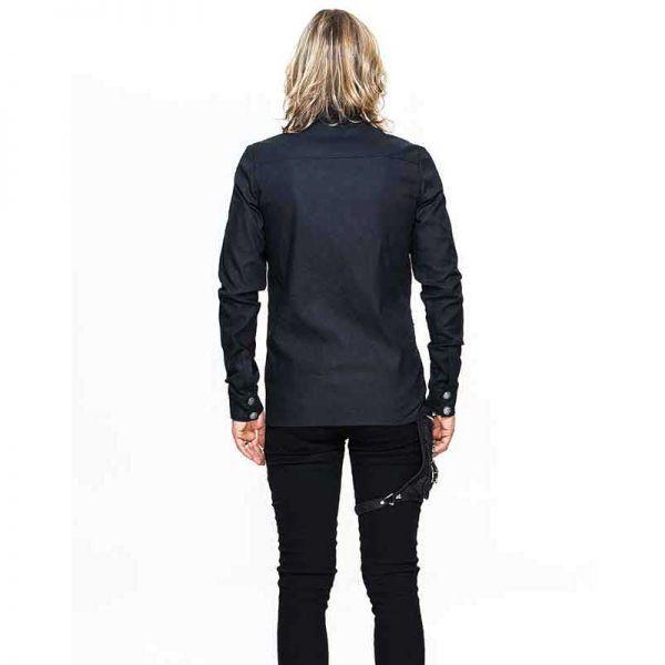 Schwarzes Hemd mit Nieten und Druckknöpfen