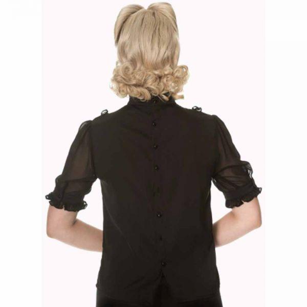 Schwarze Vintage Bluse mit Knopfleiste am Rücken