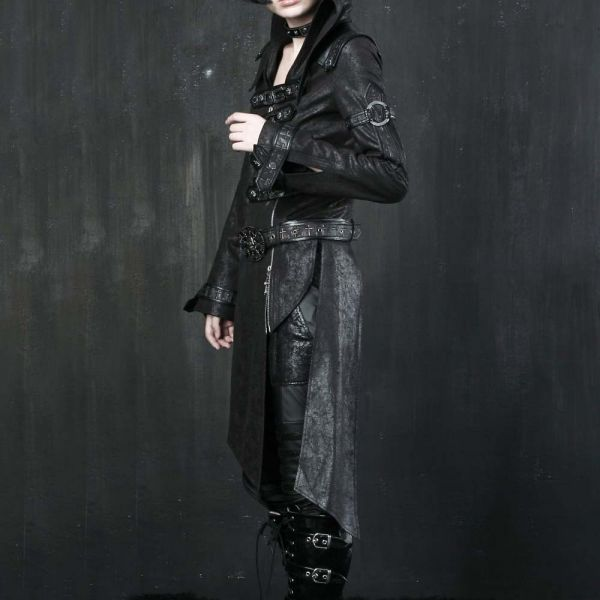 Schwarzer Lederimitat Mantel im Post Apocalyptic Style