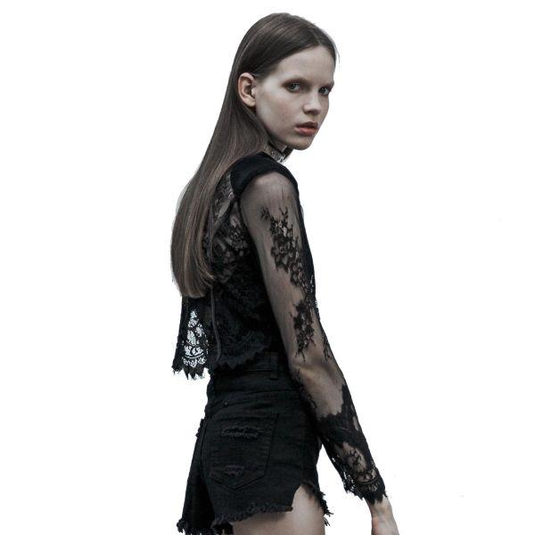 Transparente Crop Top Jacke aus Tattoo Spitze