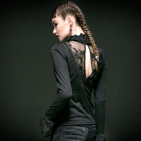 Shirt mit Netz, Spitze und Brosche in viktorianischem Look