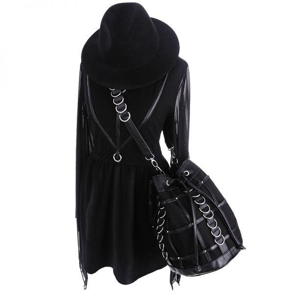 Hobo Bag schwarze Tasche mit D-Ringen und Kunstleder