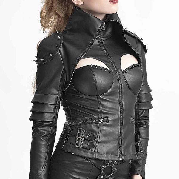 Futuristische Lederimitat Jacke im Warrior Girl Look