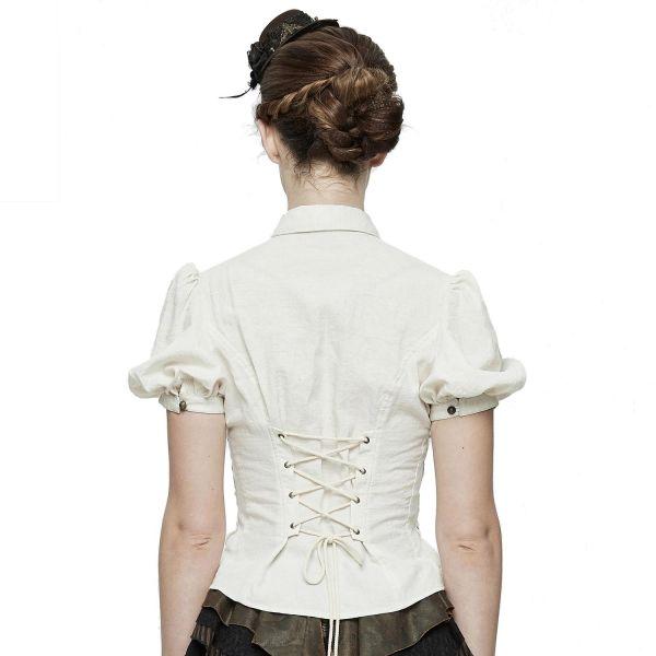 Steampunk Bluse mit Puffärmeln und Schnürungen