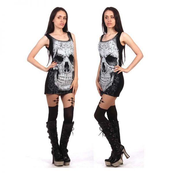 Freizeit Minikleid mit Tribal Skull im Gothic Look