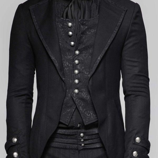 Schwarzes Jacket mit integrierter Weste im Brokat Look