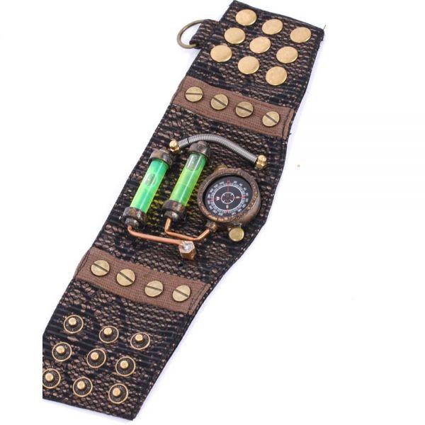 Steampunk Armband mit Kompass und Glasröhrchen