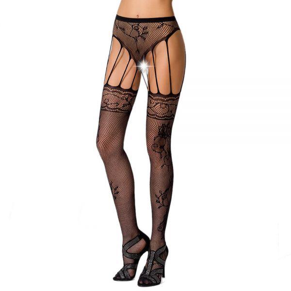 Straps Netzstrumpfhose im ouvert Panty Look mit Blüten