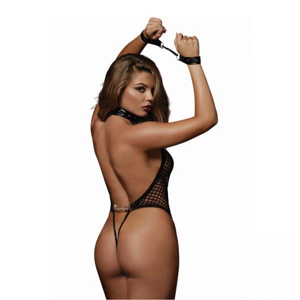 Sexy Netzbody mit Wetlook Handfesseln und Nieten