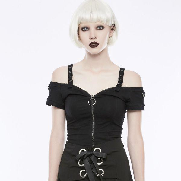 Cold Shoulder Daily Goth Shirt mit Schnallen Träger