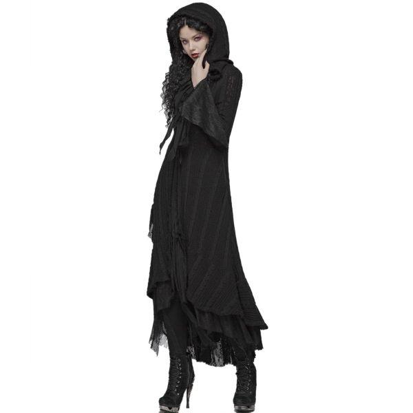 Cardigan Mantel im Witchcraft Strick-Look mit Kapuze