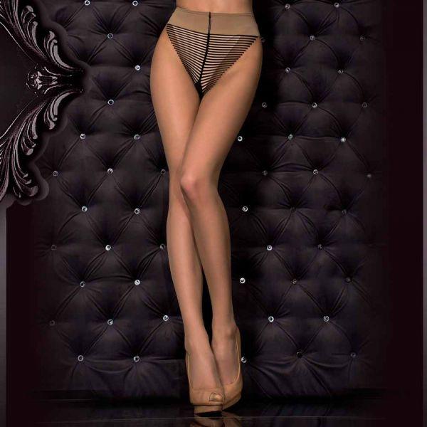 Nude Strumpfhose mit Naht und Streifen Panty Muster