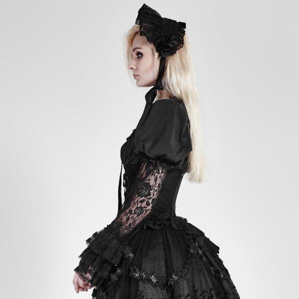 Viktorianisches tailliertes Blusentop mit Spitze