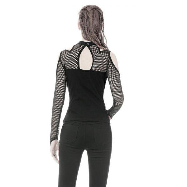 Industrial Off-Shoulder Shirt mit Netz und Bondage Riemen