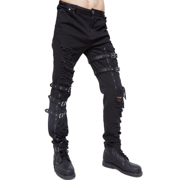 Heavy Destroyed Hose mit Schnallen und Schnürungen
