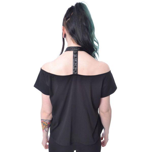 Off Shoulder Top mit Halsband Kragen und Pentagramm
