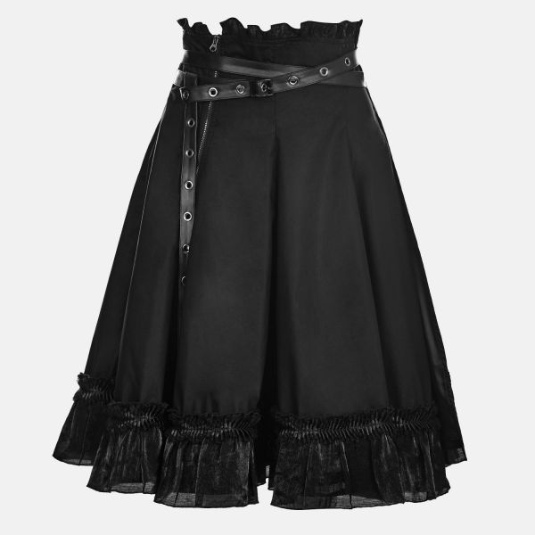 Dark Romantic High Waist Glockenrock mit Wickelgürtel