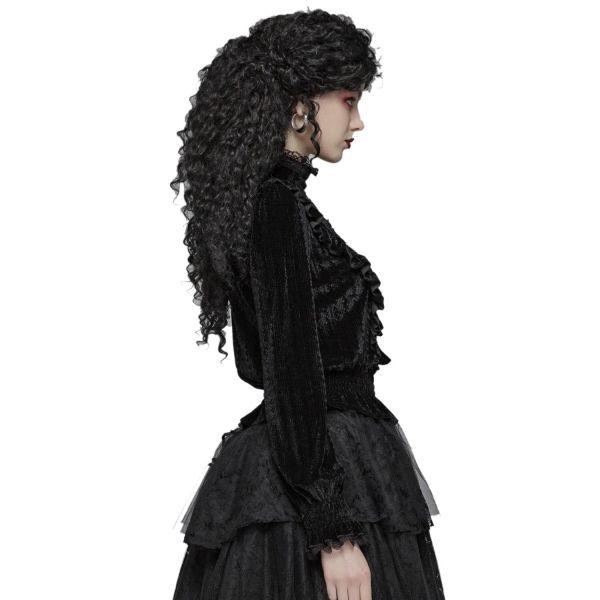 Viktorianisches Samt Blusentop mit Häkelspitze