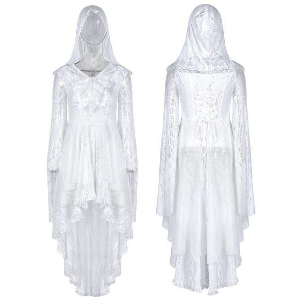 Boho Style Spitzenkleid mit Kapuze im Vokuhila Design