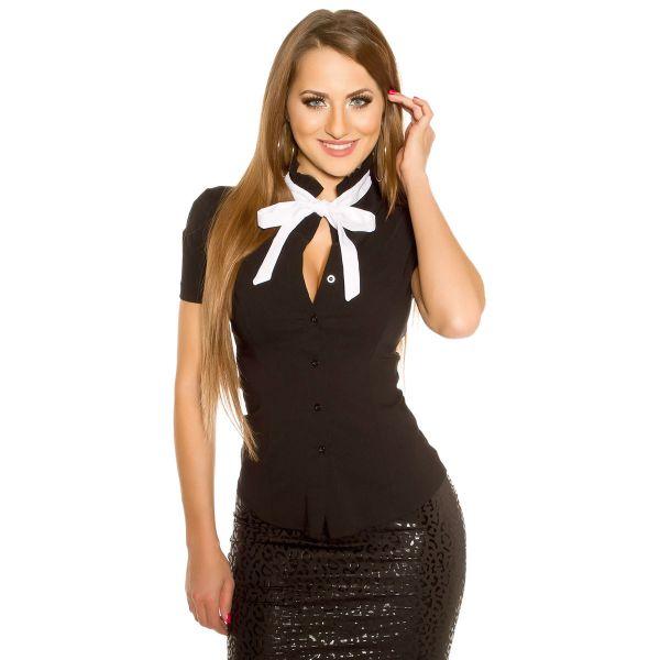Figurbetonte schwarze Bluse mit Stehkragen & Schleife