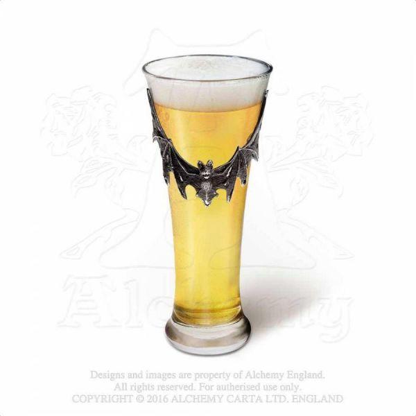 Bierglas mit Fledermaus Zinn Applikation
