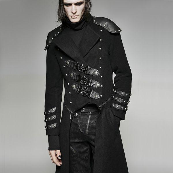 Uniform Mantel mit Nieten, Schnallen und Epauletten