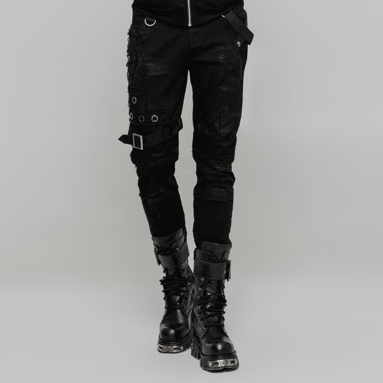 Gothic Style Slim Fit Hose im Punk Vintage Look   VOODOOMANIACS