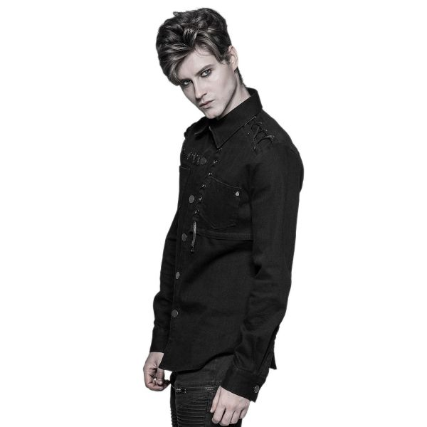 Schwarzes Jeans-Hemd mit Schnürungen und Druckknöpfen