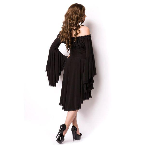 Schwarzes Off-Shoulder Kleid mit Trompetenärmeln