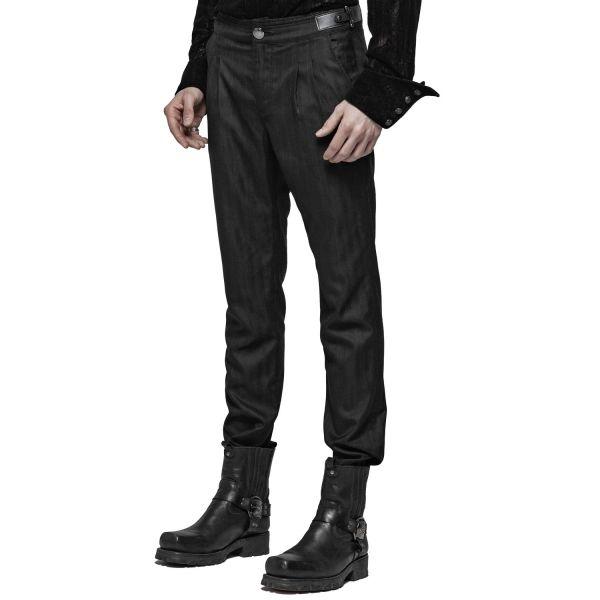 Elegante Daily Goth Hose mit Zierfalten und Schnürung