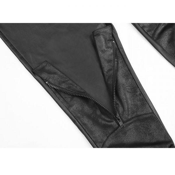 Gothic Wetlook Leggings mit Lederoptik Applikation