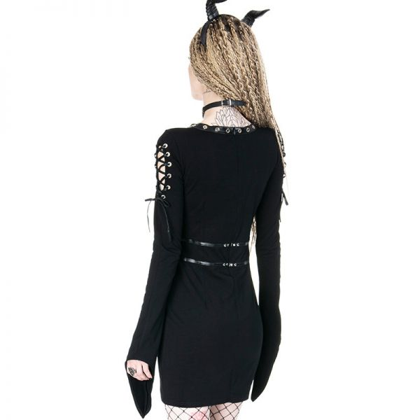 Harness Minikleid mit Schnürung und Trompetenärmeln