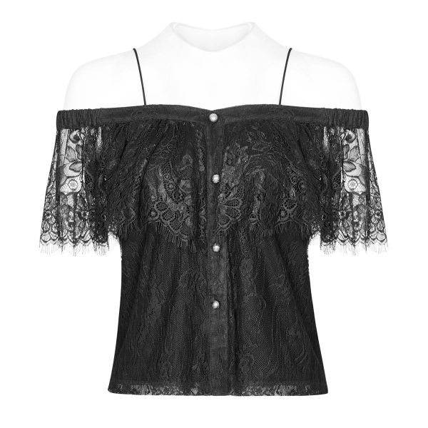 Dark Romantic Off-Shoulder Top mit Volant aus Spitze