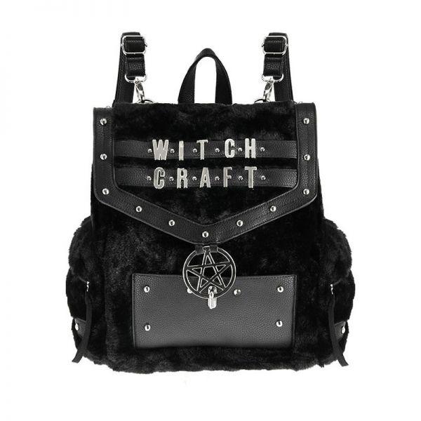 Witchcraft Rucksack in Felloptik mit Pentagramm