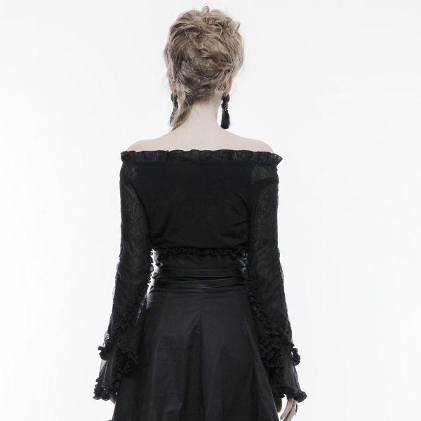 Gothic Style Carmen Top mit Tüllärmeln und Rüschen