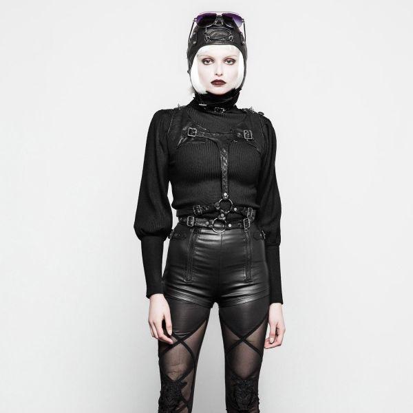 Military Style Pullover in Strickoptik mit Epaulette