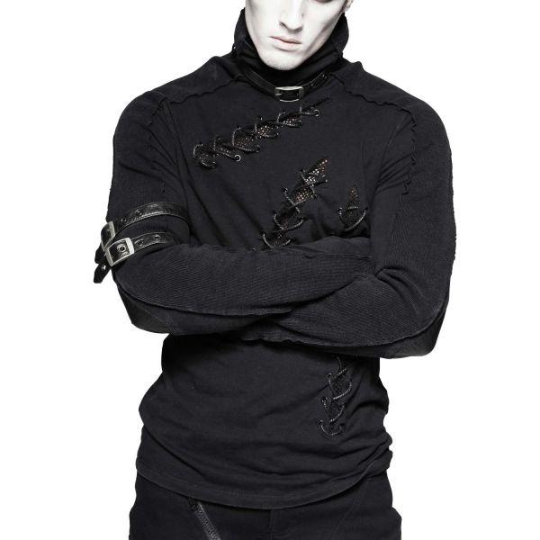 Gothic Shirt mit Schnallen, Netz und Schnürungen