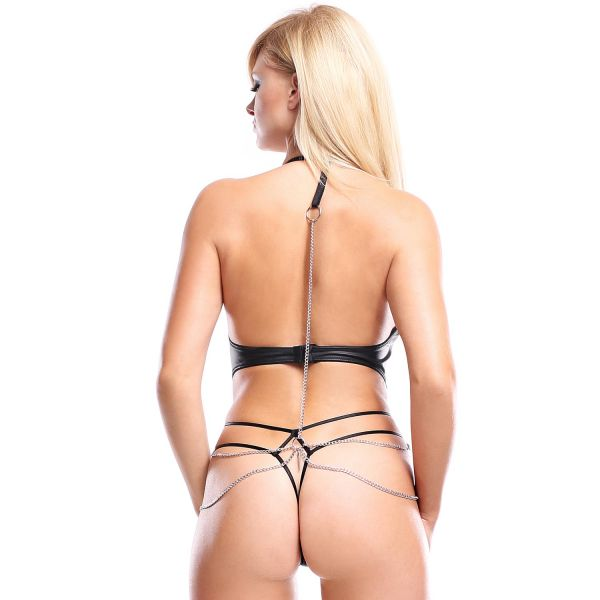 Wetlook Body mit Ketten Harness
